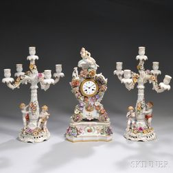 Three-piece Dresden Hand-painted Encrusted Porcelain Figural Clock Garniture Set