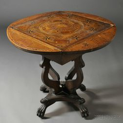 Marquetry Oak Drop-leaf Side Table