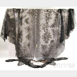 Three Black Lace Shawls.     Estimate $100-200
