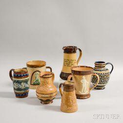 Seven Royal Doulton and Doulton Lambeth Stoneware Vessels