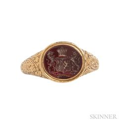 Antique High-karat Gold and Carnelian Seal Ring