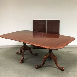 Chippendale-style Mahogany Double-pedestal Dining Table