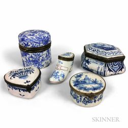 Five Blue and White Enameled and Ceramic Boxes