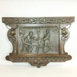 Figural-carved Oak Coat Rack