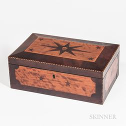 Shield-inlaid Mahogany and Figured Maple Veneer Box