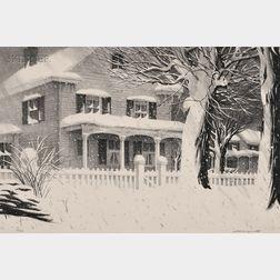Stow Wengenroth (American, 1906-1978)      December Snow (Greenport, New York)