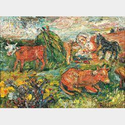David Davidovich Burliuk (Ukrainian/American, 1882-1967)      Landscape with Shepherdess and Cows