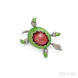 18kt Gold, Enamel, and Diamond Turtle Brooch