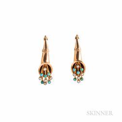 Antique Gold Gem-set Earrings