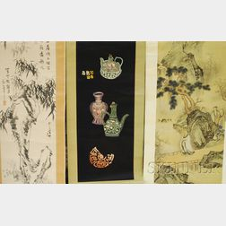 Two Indo-Persian Cloth Panels and Three Asian Scroll Paintings