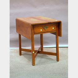 Country Chippendale Cherry Drop-leaf Pembroke Table with End Drawer and Crossed Stretchers.