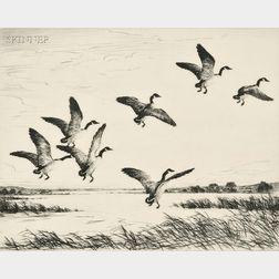 Hans Kleiber (American/German, 1887-1967)      A Flock of Honkers