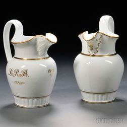 Tucker American Gilt-decorated Porcelain Pitcher and an Attributed Tucker Pitcher