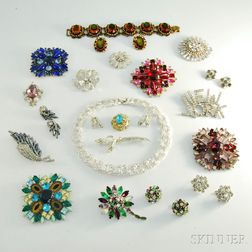 Group of Rhinestone and Crystal Designer Costume Jewelry