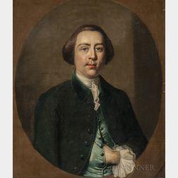 British School, 18th Century    Portrait of a Gentleman in a Trompe l'Oeil Oval