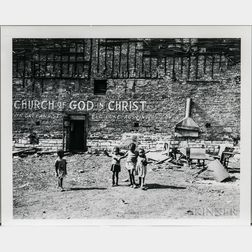 Walker Evans (American, 1903-1975)  Children Playing in Front of the Church of God in Christ, Chicago, Made for the Fortune Magazine