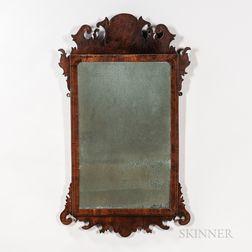 Mahogany Veneer Inlaid Scroll-frame Mirror