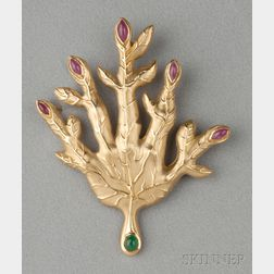 18kt Gold, Ruby, and Emerald Brooch, Henryk Kaston