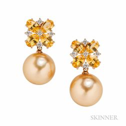 18kt Gold, Golden South Sea Pearl, Yellow Sapphire, and Diamond Earrings
