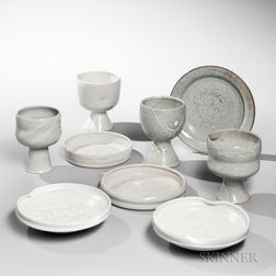 Four Brother Thomas Bezanson (1929-2007) Chalices and Five Plates