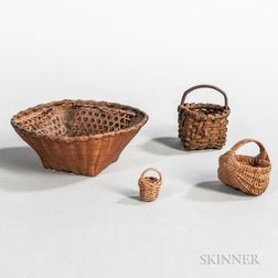 Four Miniature Baskets and Contents