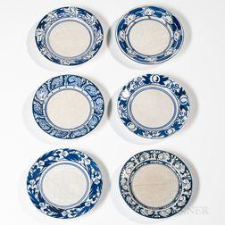 Six Dedham Pottery Plates