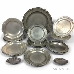 Twenty-eight English and Continental Pewter Dishes