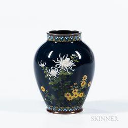 Small Deep Blue Cloisonné Vase