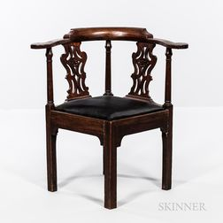 Chippendale Walnut Roundabout Chair