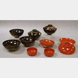 Eleven Japanese Lacquerware Bowls and a Small Chinese Blue and White Porcelain Dish.