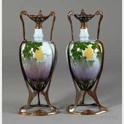 Pair of Art Nouveau Vases with Metal Mounts