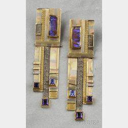 Married Various Color Gold Gem-set Earpendants, Vicki Eisenfeld