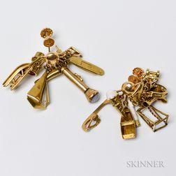 14kt Gold Charm Earrings