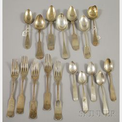Approximately Seventeen Pieces of Coin and Sterling Silver Flatware