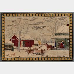 Wool Hooked Rug Depicting Currier & Ives Print Home to Thanksgiving