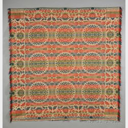 Four-color Woven Wool and Cotton Biederwand Coverlet