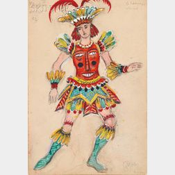Mstislav Valerianovich Dobuzhinski (Russian/Lithuanian, 1875-1957)      Costume Design for Le Sauvage Variante   in Mademoiselle Angot