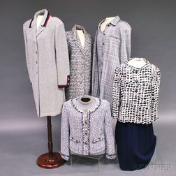 Five St. John Black and White Knit Lady's Suits and Sweaters