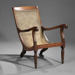 Anglo-Indian Caned Carved Rosewood Armchair