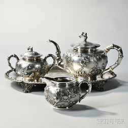 Three-piece Chinese Export Silver Tea Service with Associated Silver-plated Tray