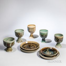 Six Brother Thomas Bezanson (1929-2007) Plates and Five Chalices
