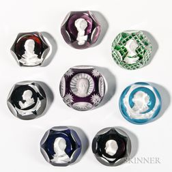 Eight Baccarat Sulphide Paperweights