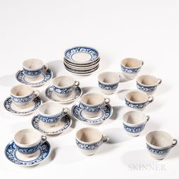 Group of Dedham Pottery Rabbit Pattern Cups and Saucers