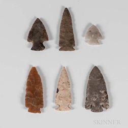 Six Prehistoric Flint Ridge Dovetail Points