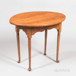 Queen Anne Tiger Maple Tea Table