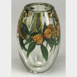 Lundberg Studios Butterfly Paperweight Vase