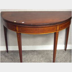 Federal-style Birch and Cherry Inlaid Demi-lune Card Table.