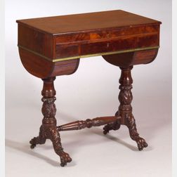 Classical Mahogany Carved and Mahogany Veneer Brass-inlaid Work Table