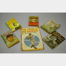 Seven Assorted Baseball Books, Comic Books, and a Paperback