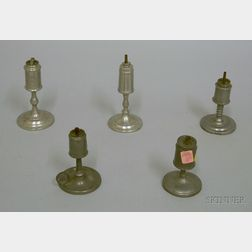 Five Small Pewter Fluid Lamps